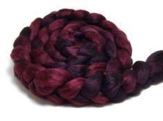 Handpainted Alpaca Silk Roving  Crush Crush by KnittyAndColor, $24.00