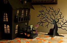 cricut ideas and projects | Halloween Haunted House Craft Project