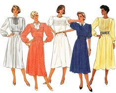 1980s Dress Pattern Tuck Front Elastic Waist Flared Dress Out of Print Sewing Pattern Butterick 3412 Size 12 Bust 34 UNCUT Free US Shipping by TheOldLeaf on Etsy
