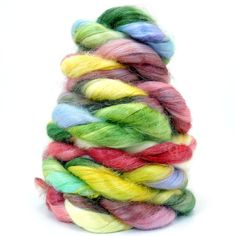Banana Roving - PHOENIX GARDEN - Hand Painted Spinning Fiber    More colorful deliciousness from GirlMeetsSpindle's etsy shop!