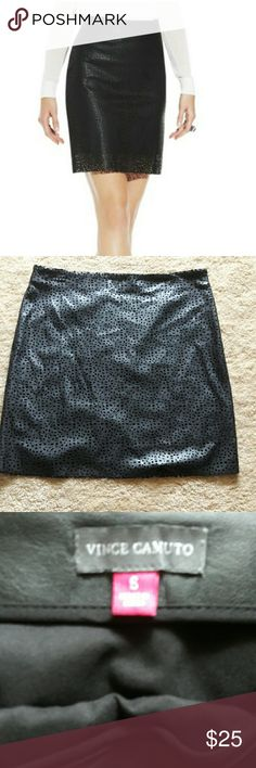 Vince Camuto Faux Leather Skirt Perfect condition Vince Camuto faux leather laser cut skirt, with side zipper Vince Camuto Skirts