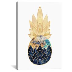"Precious Pineapple I by Elisabeth Fredriksson Canvas Print (18""x12""), Blue Gold White"
