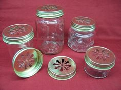 DAISY Cut Mason Jar Lids - GOLD  Can use with straw or shakers, so love