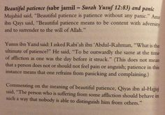 """What is meant by """"Beautiful patience"""" in Surah Yusuf 12:83, by some of the Salaf..."""