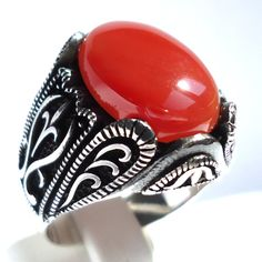 925 Sterling Silver Men's Ring with Real Middle Eastern Red Agate Aqeeq