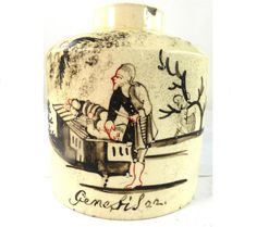 "18TH CENTURY CREAMWARE TEA CADDY  DUTCH DECORATED BIBLICAL SCENE GENESIS 22  | Genesis verse 22 whereby Abraham was told by God to ""Take your son, your only son, whom you love—Isaac—and go to the region of Moriah. Sacrifice him there as a burnt offering on a mountain I will show you.""   Marks & Back-stamps Unmarked Size and Weight Measures 9.5cm 3 3/4"" tall. £107.99"