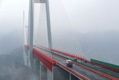 Image: Vehicles making their way through the Beipanjiang Bridge