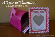 A year of Valentines ~ 12 DIY scratch off cards, each with a different monthly activity to do with your child (or any loved one).  Blank free printable included.