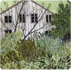 The Overgrown Garden by beccastadtlander on Etsy, a digital print of an original gouache painting printed on enhanced matte archival paper, So Happy, Illustrations, Illustration Art, Gouache Painting, Watercolor Paintings, House In The Woods, Large Prints, Becca, Contemporary Artists