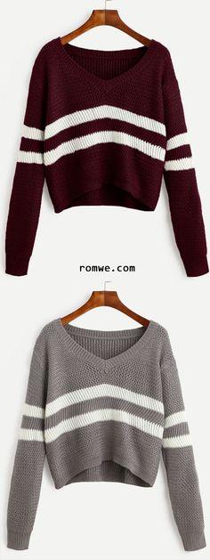 Grey & Black Striped V Neck Crop Sweater