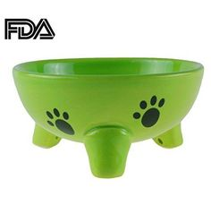 Gomass Pet supplies Fishbone Grain Tripods Cat and Dog Bowl Ceramic Feeder Green #Gomass
