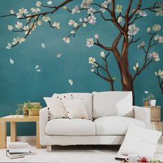 Hand Painted One Large Magnolia Tree Flowers Tree Chinoiserie Wallpaper Wall Mural, Turquoise Color Backgroud Flowers Tree Wall Mural Tree Wall Painting, Tree Wall Murals, Wall Painting For Bedroom, Chinoiserie Wallpaper, Wall Wallpaper, Bedroom Wall Designs, Magnolia Trees, Room Decor, Wall Decor