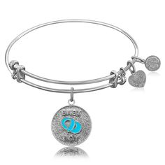Expandable Bangle in White Tone Brass with Baby Boy Symbol