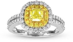 Vivid Elegance 1 1/3 CT TW Yellow Diamond 18K Two-Tone Gold Double Row Halo Engagement Ring