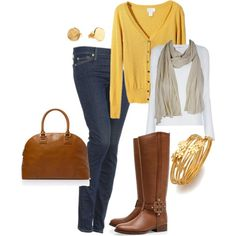 fall ... cardigan, scarf, boots