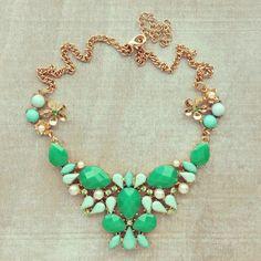 Green J Crew Inspired Statement Necklace Bib by VivaLaJewel, $26.00
