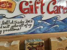 Watercolor and ink waves - trader joes sign