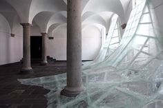 Shattered Glass Installation by Baptiste Debombourg | Using sheets of shattered…