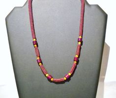 Red Beads Necklace, Red Necklace with Glass beads, Herringbone Necklace, Red Jewelry, Glass bead Necklace, Handmade Necklace