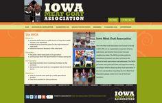 Iowa Meat Goat Association, orange, green, stripes, dark footer, dark header, website, design, three column website design, contemporary website design