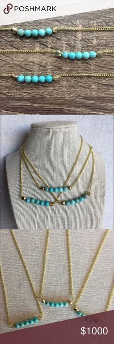 Turquoise Howlite Bar Necklace Turquoise Howlite Bar Necklace. Turquoise dyed howlite, gold alloy chain & clasp, with Czech glass beads. Appx. 16 inches long. 🌵Made in El Paso, TX 🌵 Simple Sanctuary Jewelry Necklaces