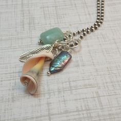 Wire Wrapped Spiral Shell Charm