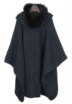 Women Dark grey cape Coat winter coat by luckystore829 on Etsy, $69.00