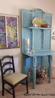Entryway Furniture, Funky Furniture, Paint Furniture, Repurposed Furniture, Shabby Chic Furniture, Furniture Projects, Furniture Makeover, Blue Distressed Furniture, Upcycled Furniture Before And After