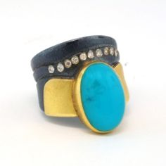 ATELIER ZOBEL Ring, 925/Silver, 22K Yellow Gold, Chrysocolla Cabochon 6.89ct, and Champagne Coloured Diamonds VSI 0.10ct., 40