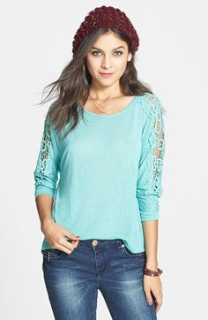 Lush Crochet Detail Tee (Juniors) available at #Nordstrom