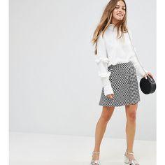 ASOS PETITE Gingham Print Skater Skirt (€8,00) ❤ liked on Polyvore featuring skirts, multi, petite, petite white skirt, high-waisted skirt, white knee length skirt, skater skirts and flared skirts