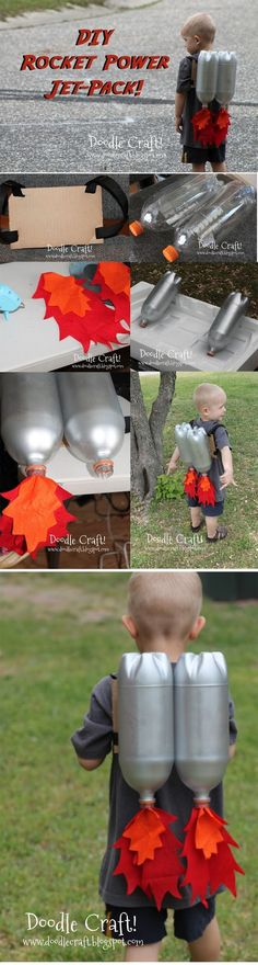 DIY - Plastic Bottle Rocket Power Jet-Pack. It looks awesome, but make sure to have a parent's help with cutting and painting!