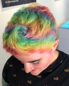 ARCTIC FOX HAIR COLOR  @thegirlnamedwalter 🌈PASTEL NEONS🌈 I gave @metal.beast some #rainbowhair just in time for #PRIDE  I used all @arcticfoxhaircolor dyes and I'll share the formulas in my next post. Enjoy 💕 #pastelhair #vividhair #theunicorntribe #twincitiespride #tcpride #pridemonth #arcticfoxhaircolor  #neonhair #holographichair Men Hair Color, Pretty Hair Color, Hair Dye Colors, Neon Hair, Pastel Hair, Pelo Multicolor, Arctic Fox Hair Color, Princess Hairstyles, Shaved Head