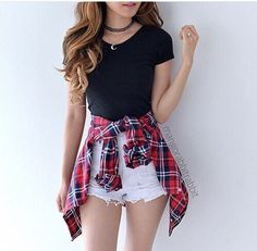 Spring And Summer Outfits 😍 , For More Fashion Visit Our Website cute summer outfits, cute summer outfits outfit ideas,casual outfits Spring . Cute Teen Outfits, Teenage Girl Outfits, Teen Fashion Outfits, Cute Summer Outfits, Spring Outfits, Flannel Outfits Summer, Fashion Clothes, Cute Outfits With Flannels, Shorts Outfits For Teens