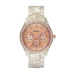 FOSSIL® Watch Styles Rose Watches:Women Stella Resin Watch - Pearlized White with Rose ES2887