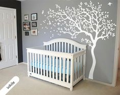 White Tree Wall Decal Huge Tree wall decal Wall Mural Stickers Nursery Tree and Birds Wall Art Tattoo Nature Wall Decals Decor - 047 ----- WHATS