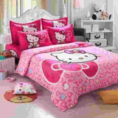 Free express delivery shipping Fashion Luxury 3D Cotton Print Bedding sets Duvet Cover Bed sheet Twin Queen Pink Hello Kitty