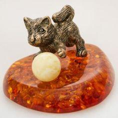 Kitten with a Ball Brass & Amber Figurine