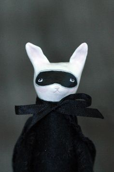 The Bandit Rabbit OOAK clay and fabric by ClaymateCreatures, $60.00