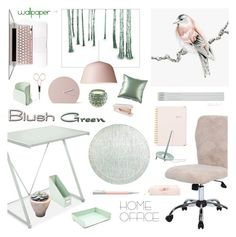 """Home Office: Green & Blush"" by theseapearl ❤ liked on Polyvore featuring interior, interiors, interior design, home, home decor, interior decorating, Pier 1 Imports, Boss Chairs, Opaline and Muuto"