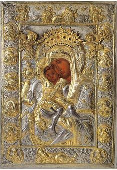 """Icon of the Mother of God """"Axion Estin,"""" preserved in the Church of the Protaton in Karyes on Mount Athos Religious Icons, Religious Art, Paintings Of Christ, Flat Picture, Pictures Of Christ, Russian Icons, Blessed Mother Mary, Byzantine Art, Byzantine Icons"""