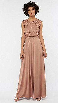 Monsoon - Pink 'Yasmeen' lace jersey maxi dress