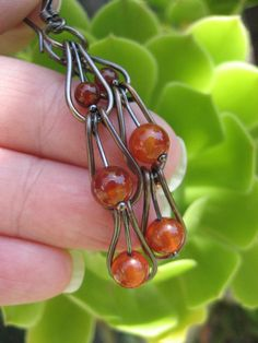 Carnelian Gemstone Copper Earrings Handmade Ladder by go2girl - fun design