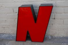 Red & Black Neon Sign Letter 'N' by OhSoRetroVintage on Etsy, $75.00