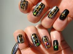 black and gold geometric nail art by OceaneNailArt - Nail Art Gallery nailartgallery.nailsmag.com by Nails Magazine www.nailsmag.com #nailart