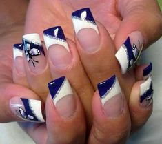 Opting for bright colours or intricate nail art isn't a must anymore. This year, nude nail designs are becoming a trend. Here are some nude nail designs. French Manicure With A Twist, French Manicure Designs, French Tip Nails, French Manicures, French Tips, Butterfly Nail Designs, Blue Nail Designs, Blue Design, Fancy Nails