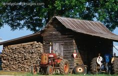 old shed, wood pile and tractors