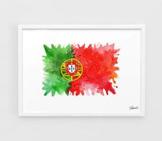 Portugal Flag UEFA Euro 2016 - Wall Art Print Poster of the Original Watercolor Painting Football Poster Soccer Poster home decor gifts Star Wars Poster, Star Wars Art, Portugal Flag, Soccer Poster, Football Posters, Flag Art, Flags Of The World, Wall Art Prints, Watercolor Paintings