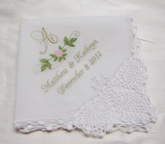 Monogrammed and Personalized Embroidered Wedding Handkerchief. $25.00, via Etsy.