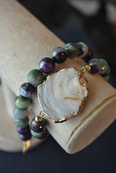DRUZY & AGATE WRAP BRACELET  www.teresajewelry.etsy.com www.facebook.com/therartjewelry